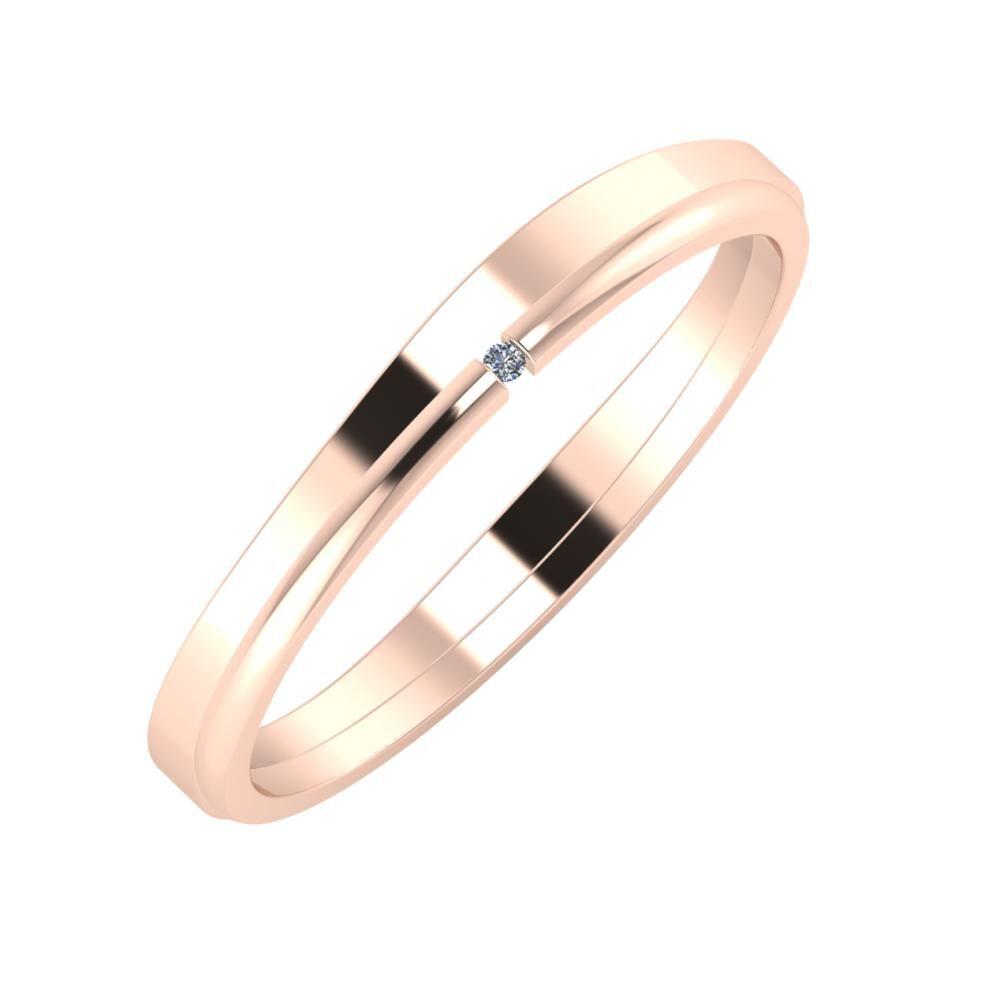 Adria - Adalind 3mm 14 karátos rosé arany karikagyűrű