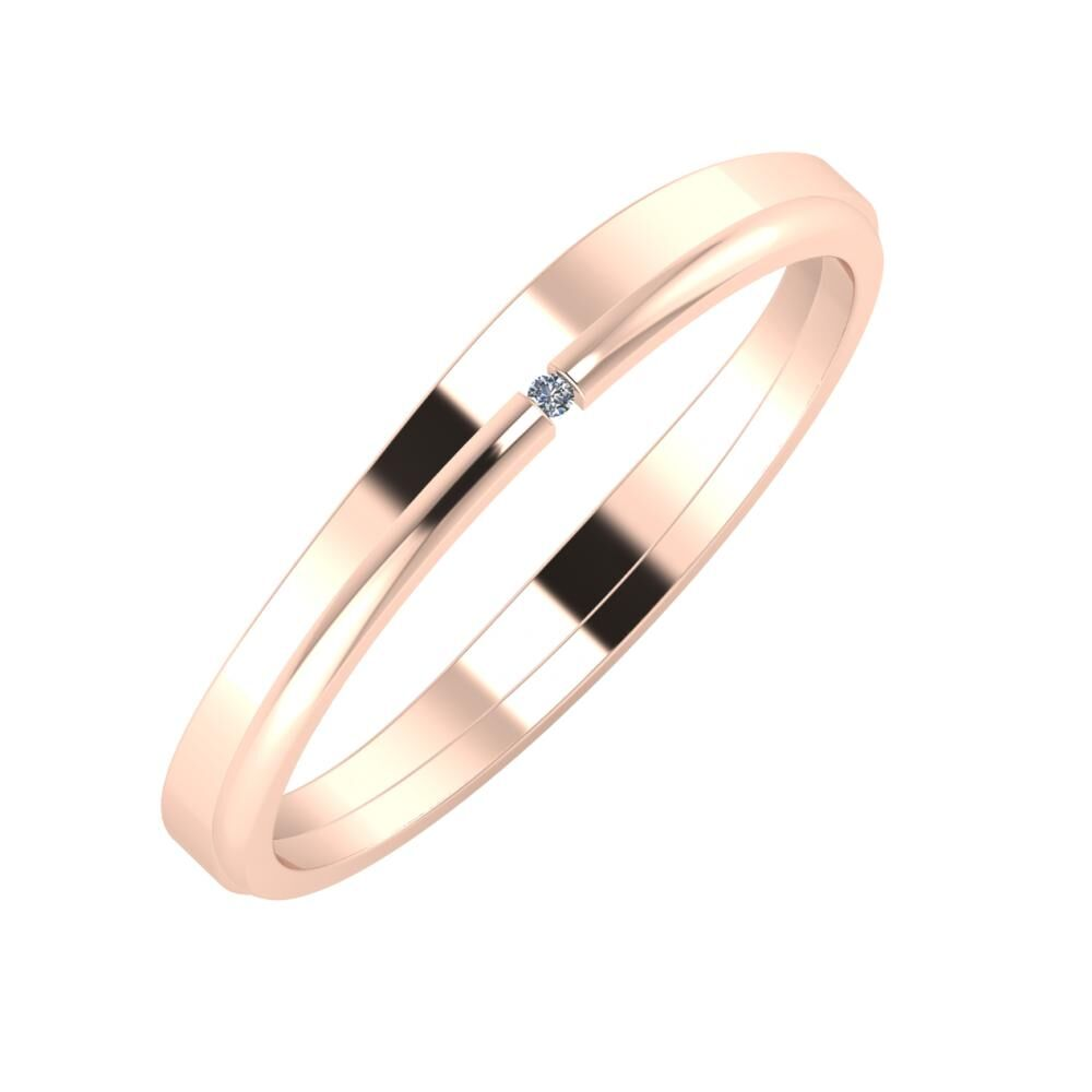 Adria - Adalind 3mm 18 karátos rosé arany karikagyűrű