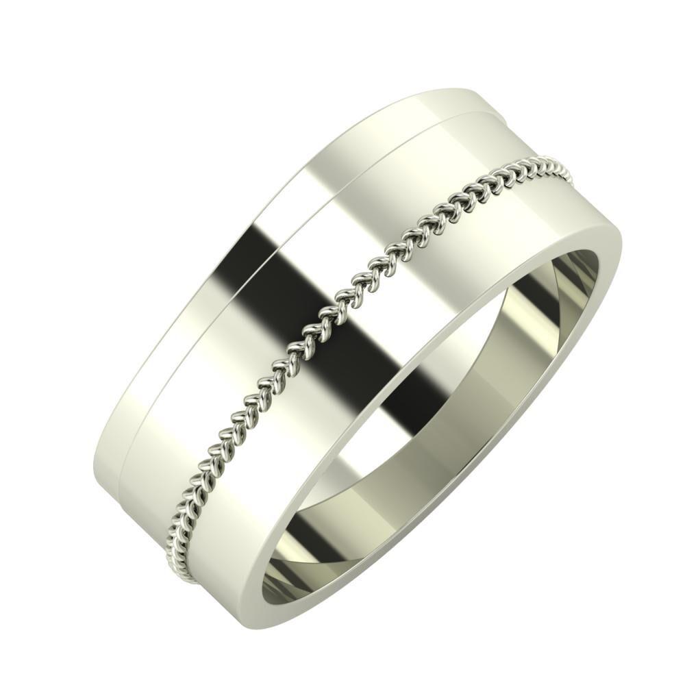 Adria - Áfonya 8mm 14 karátos fehér arany karikagyűrű