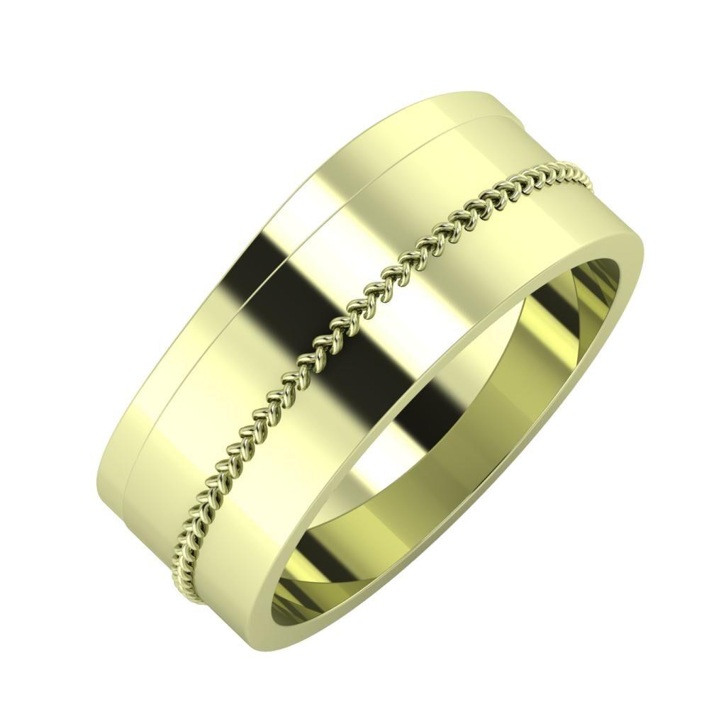 Adria - Áfonya 8mm 14 karátos zöld arany karikagyűrű