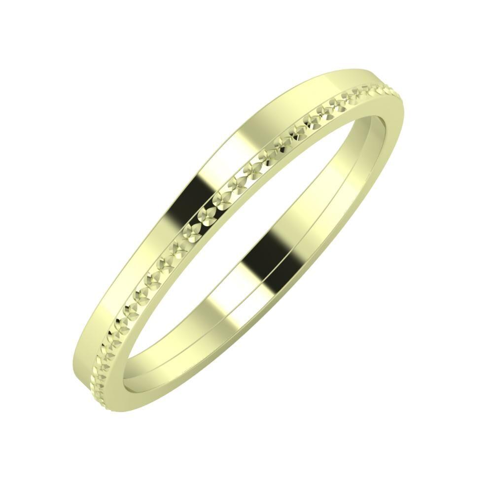 Adria - Ági 3mm 14 karátos zöld arany karikagyűrű
