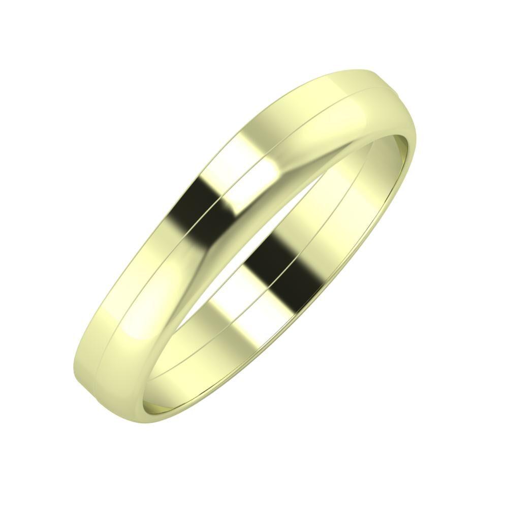 Adria - Ágosta 4mm 14 karátos zöld arany karikagyűrű
