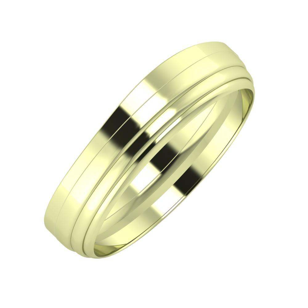 Adria - Aina 5mm 14 karátos zöld arany karikagyűrű