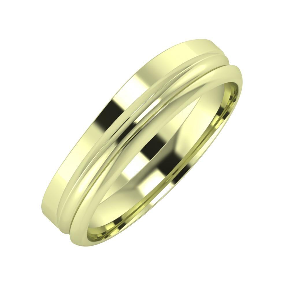 Adria - Alexandrin 5mm 14 karátos zöld arany karikagyűrű