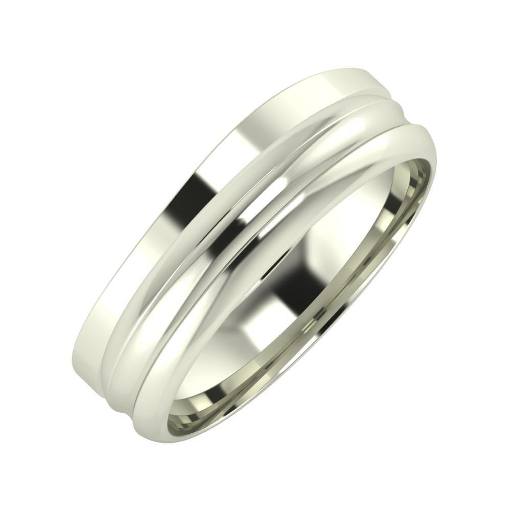 Adria - Alexandrin 6mm 14 karátos fehér arany karikagyűrű