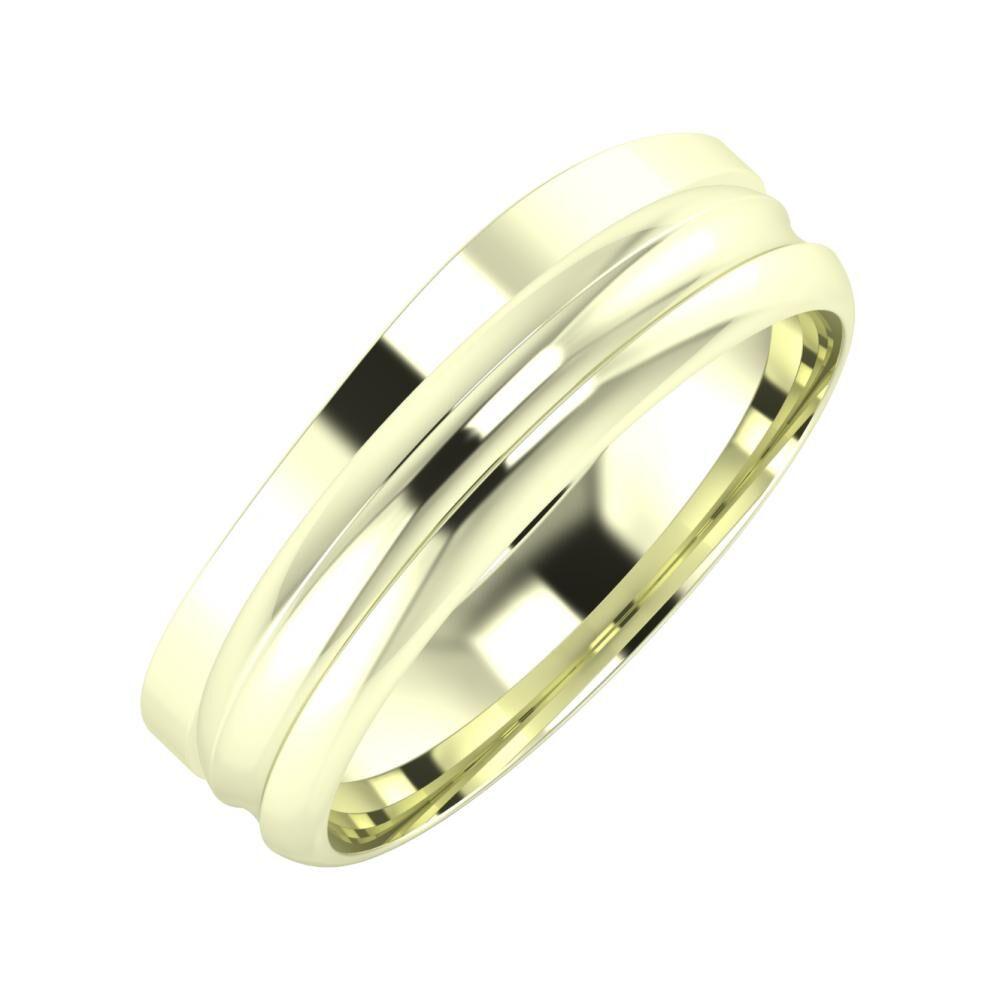 Adria - Alexandrin 6mm 22 karátos fehér arany karikagyűrű