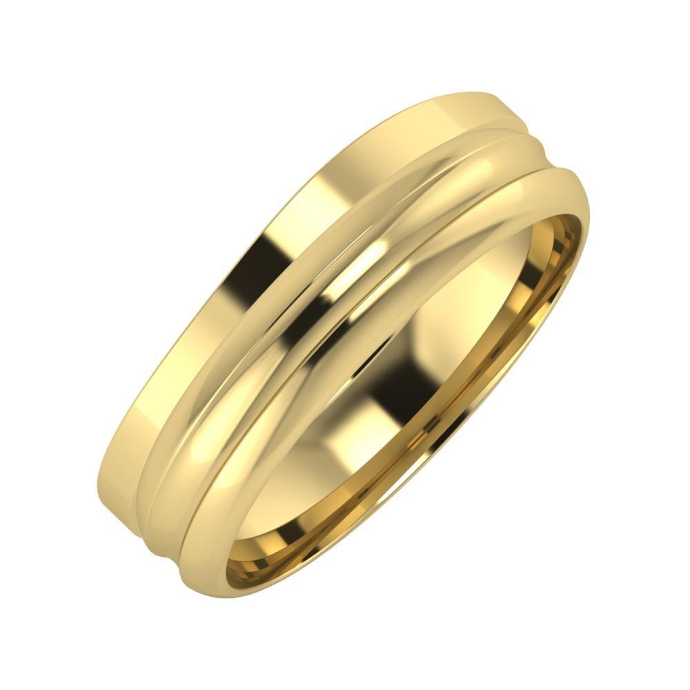 Adria - Alexandrin 6mm 14 karátos sárga arany karikagyűrű