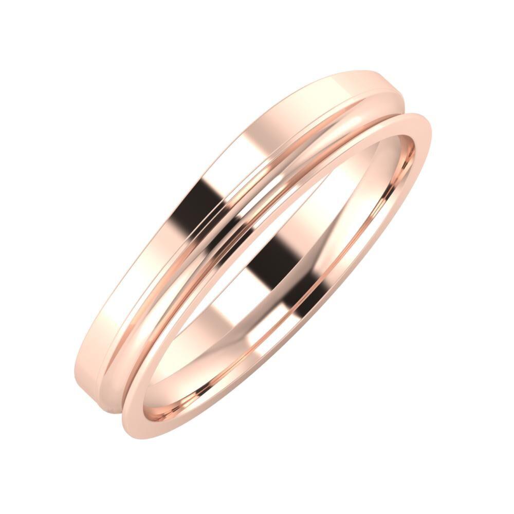 Adria - Alexandrina 4mm 14 karátos rosé arany karikagyűrű