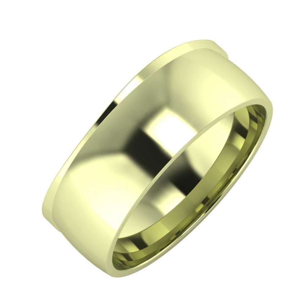 Adria - Alma 8mm 14 karátos zöld arany karikagyűrű