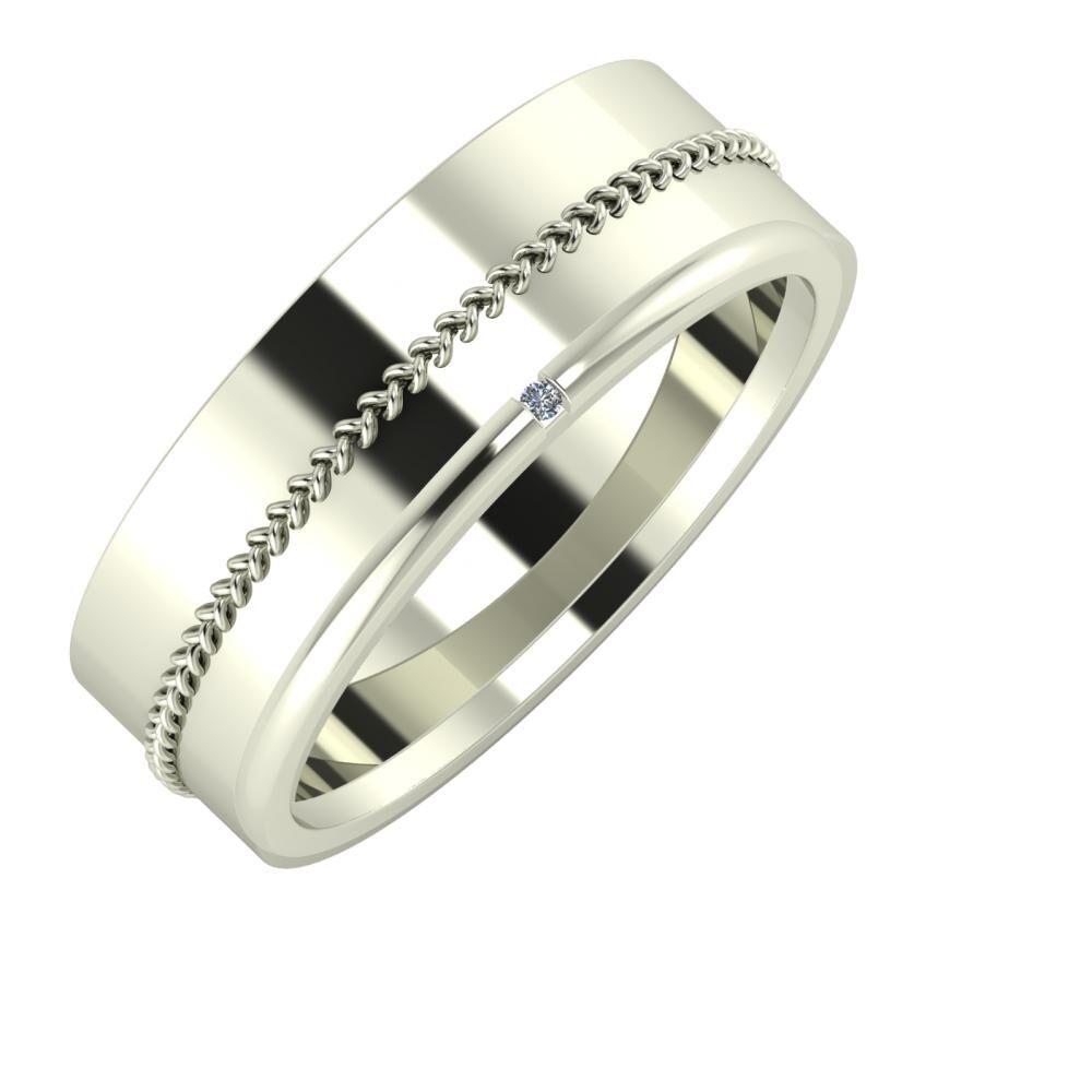 Áfonya - Adalind 7mm 18 karátos fehér arany karikagyűrű