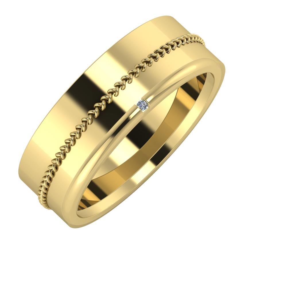 Áfonya - Adalind 7mm 14 karátos sárga arany karikagyűrű