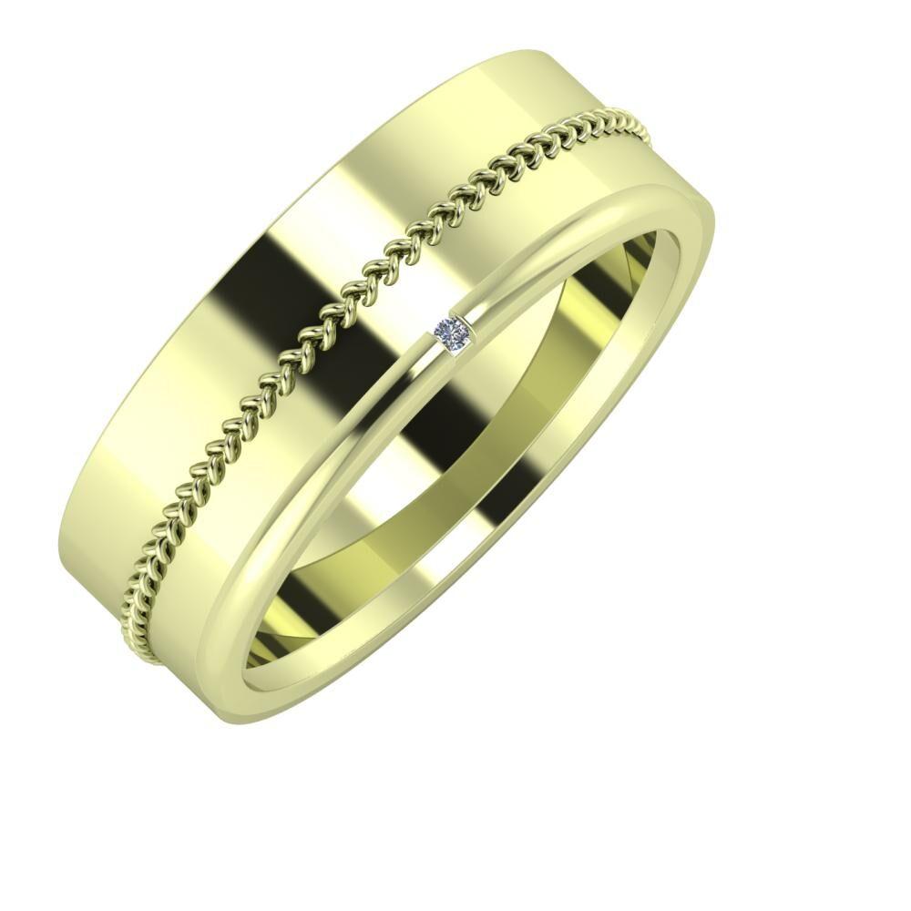 Áfonya - Adalind 7mm 14 karátos zöld arany karikagyűrű