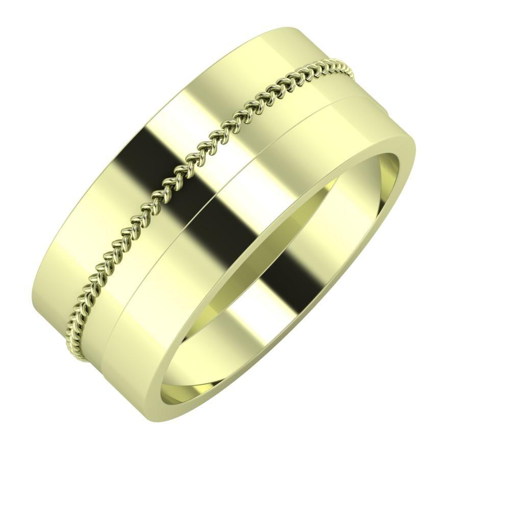 Áfonya - Adela 9mm 14 karátos zöld arany karikagyűrű