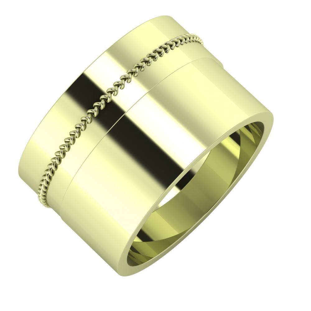 Áfonya - Adela 13mm 14 karátos zöld arany karikagyűrű