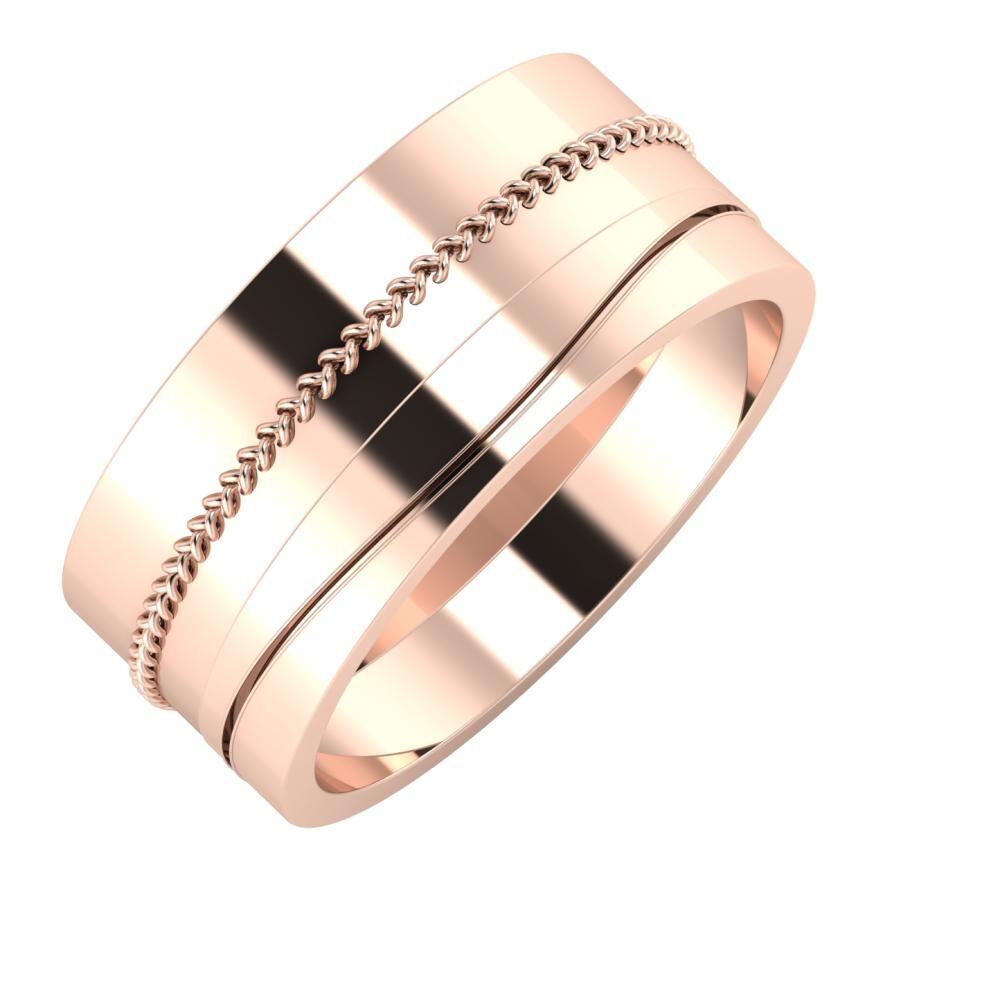 Áfonya - Adelinda 9mm 18 karátos rosé arany karikagyűrű