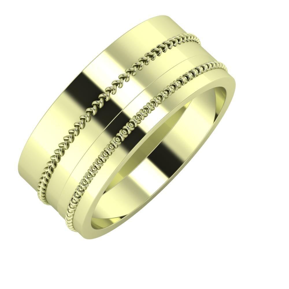 Áfonya - Afrodita 9mm 14 karátos zöld arany karikagyűrű