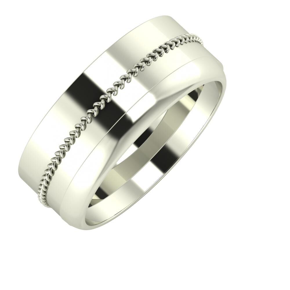 Áfonya - Ágosta 8mm 14 karátos fehér arany karikagyűrű