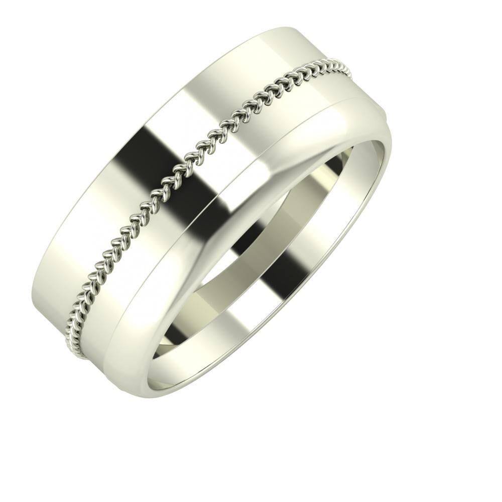 Áfonya - Ágosta 8mm 18 karátos fehér arany karikagyűrű