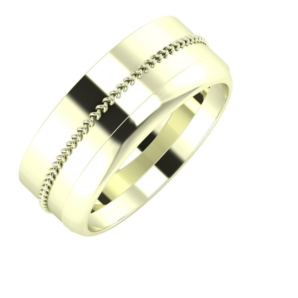 Áfonya - Ágosta 8mm 22 karátos fehér arany karikagyűrű