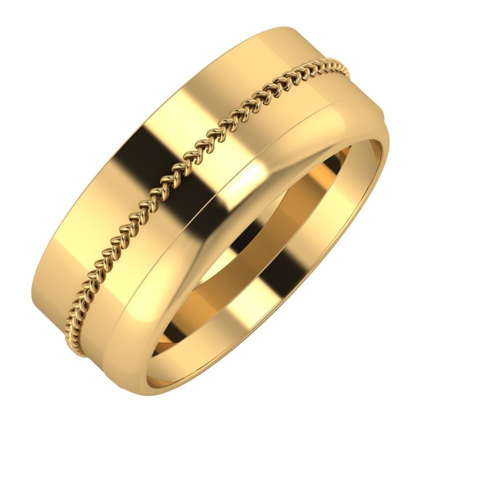 Áfonya - Ágosta 8mm 22 karátos sárga arany karikagyűrű