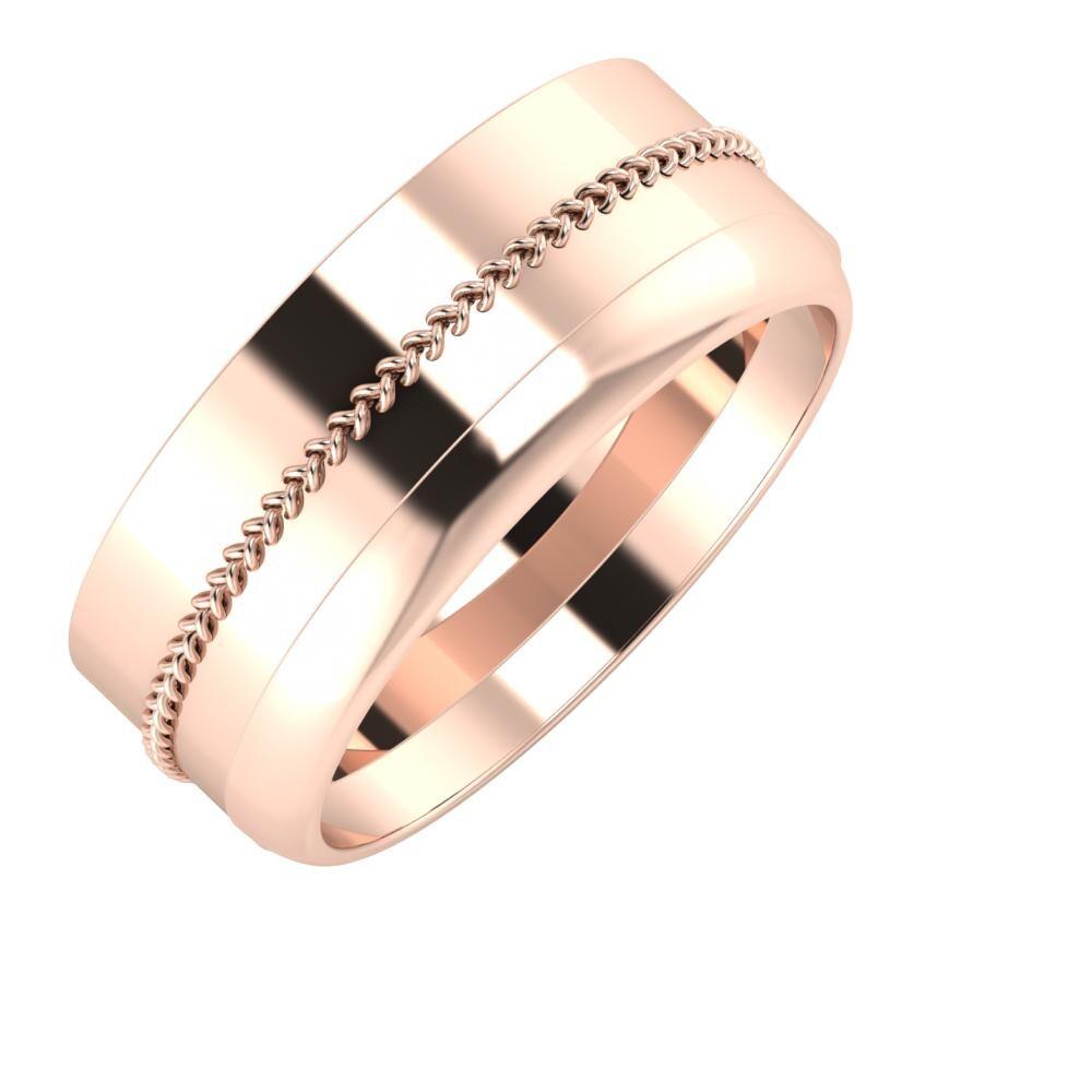 Áfonya - Ágosta 8mm 18 karátos rosé arany karikagyűrű