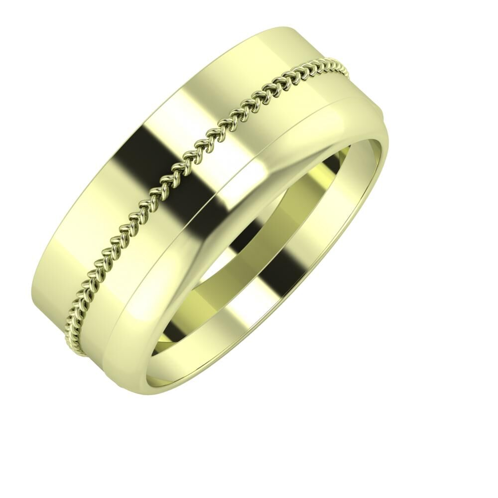 Áfonya - Ágosta 8mm 14 karátos zöld arany karikagyűrű