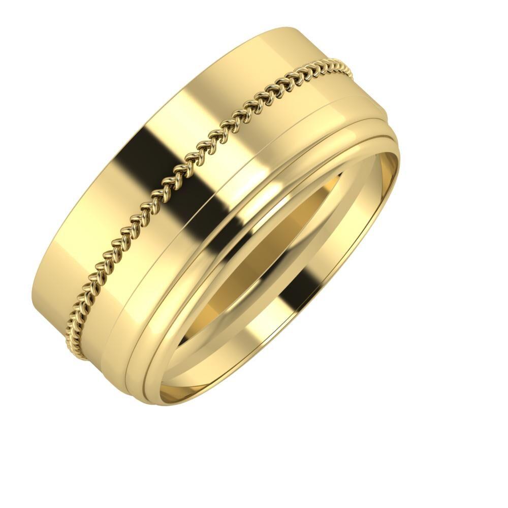 Áfonya - Aina 9mm 14 karátos sárga arany karikagyűrű