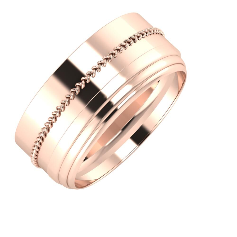 Áfonya - Aina 9mm 18 karátos rosé arany karikagyűrű