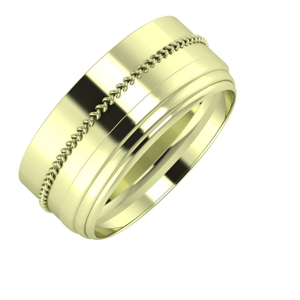 Áfonya - Aina 9mm 14 karátos zöld arany karikagyűrű