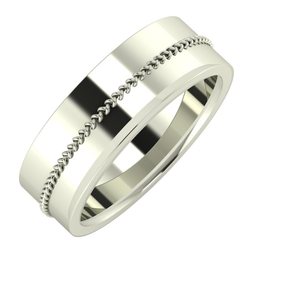 Áfonya - Aisa 7mm 14 karátos fehér arany karikagyűrű