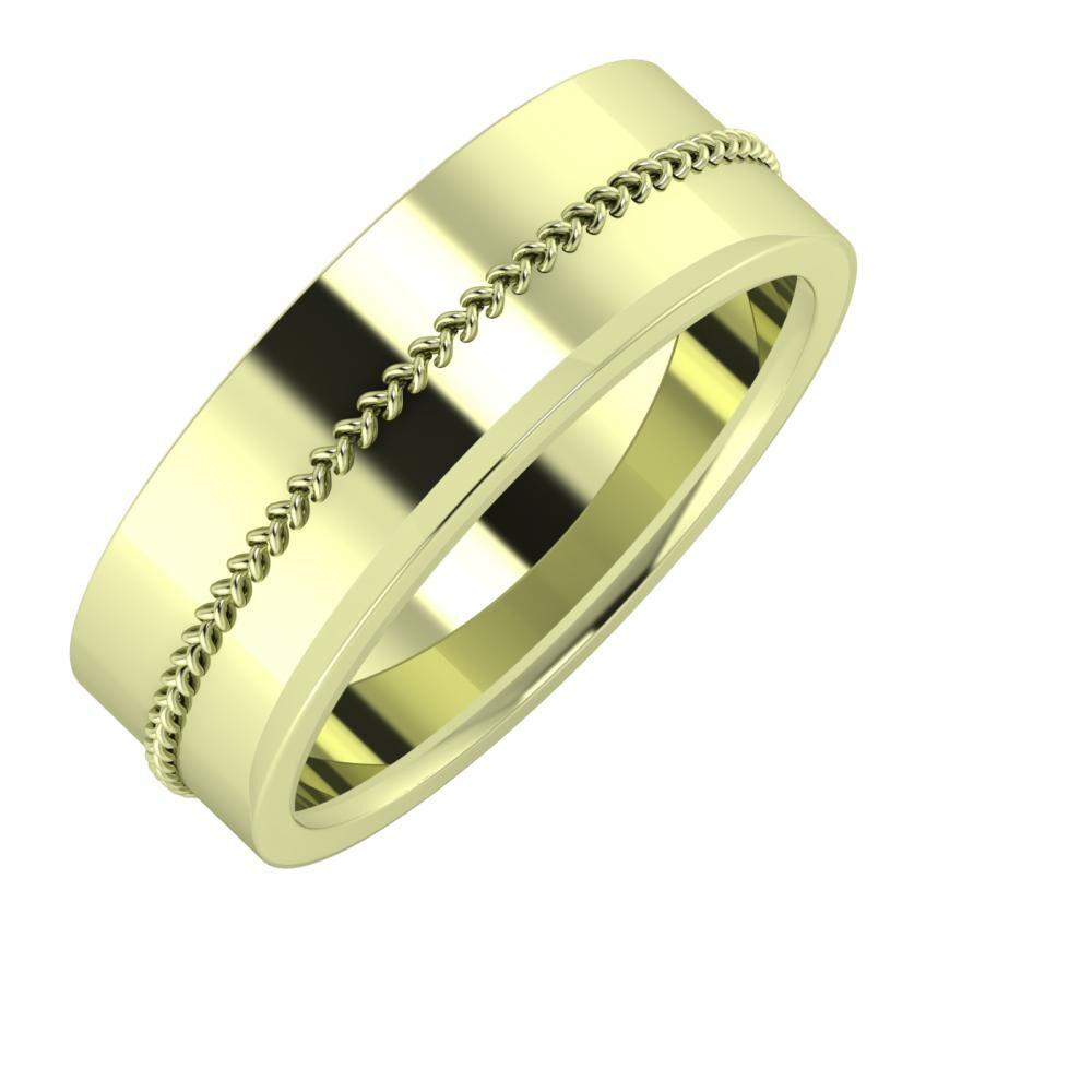 Áfonya - Aisa 7mm 14 karátos zöld arany karikagyűrű
