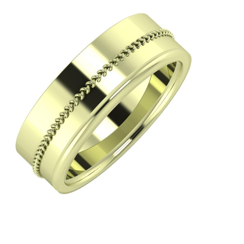 Áfonya - Aletta 7mm 14 karátos zöld arany karikagyűrű
