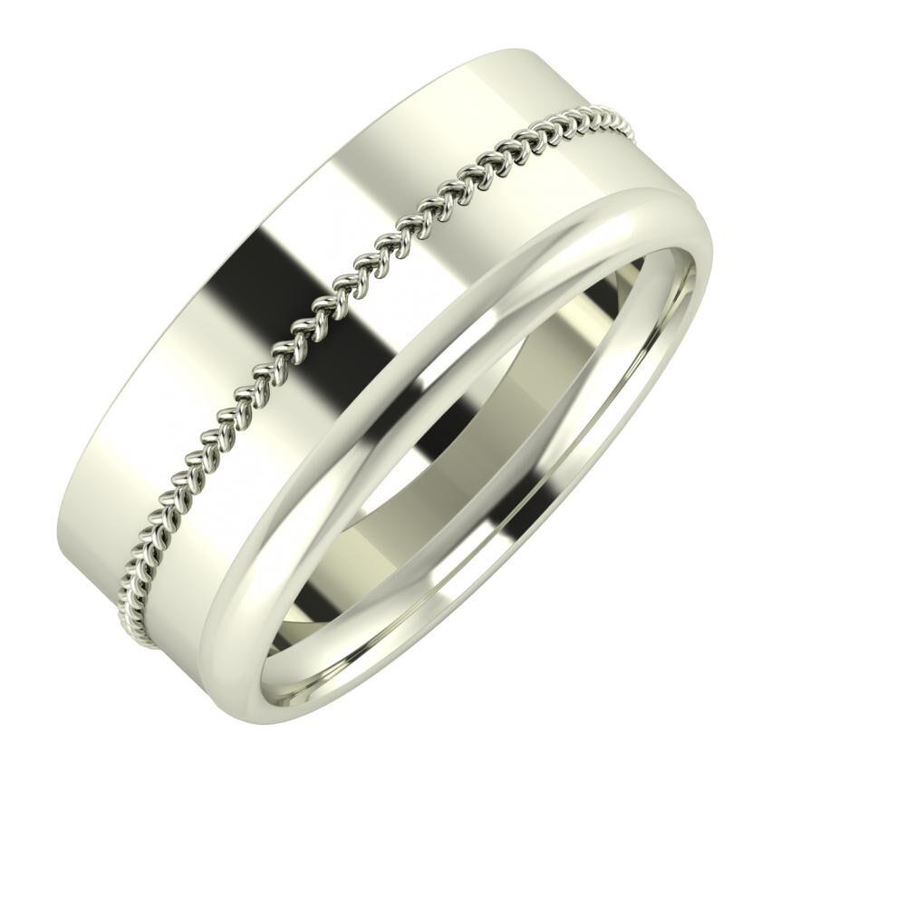 Áfonya - Alexa 8mm 18 karátos fehér arany karikagyűrű