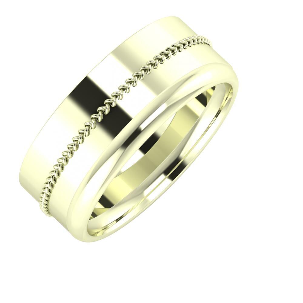 Áfonya - Alexa 8mm 22 karátos fehér arany karikagyűrű