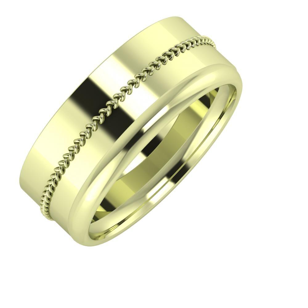 Áfonya - Alexa 8mm 14 karátos zöld arany karikagyűrű
