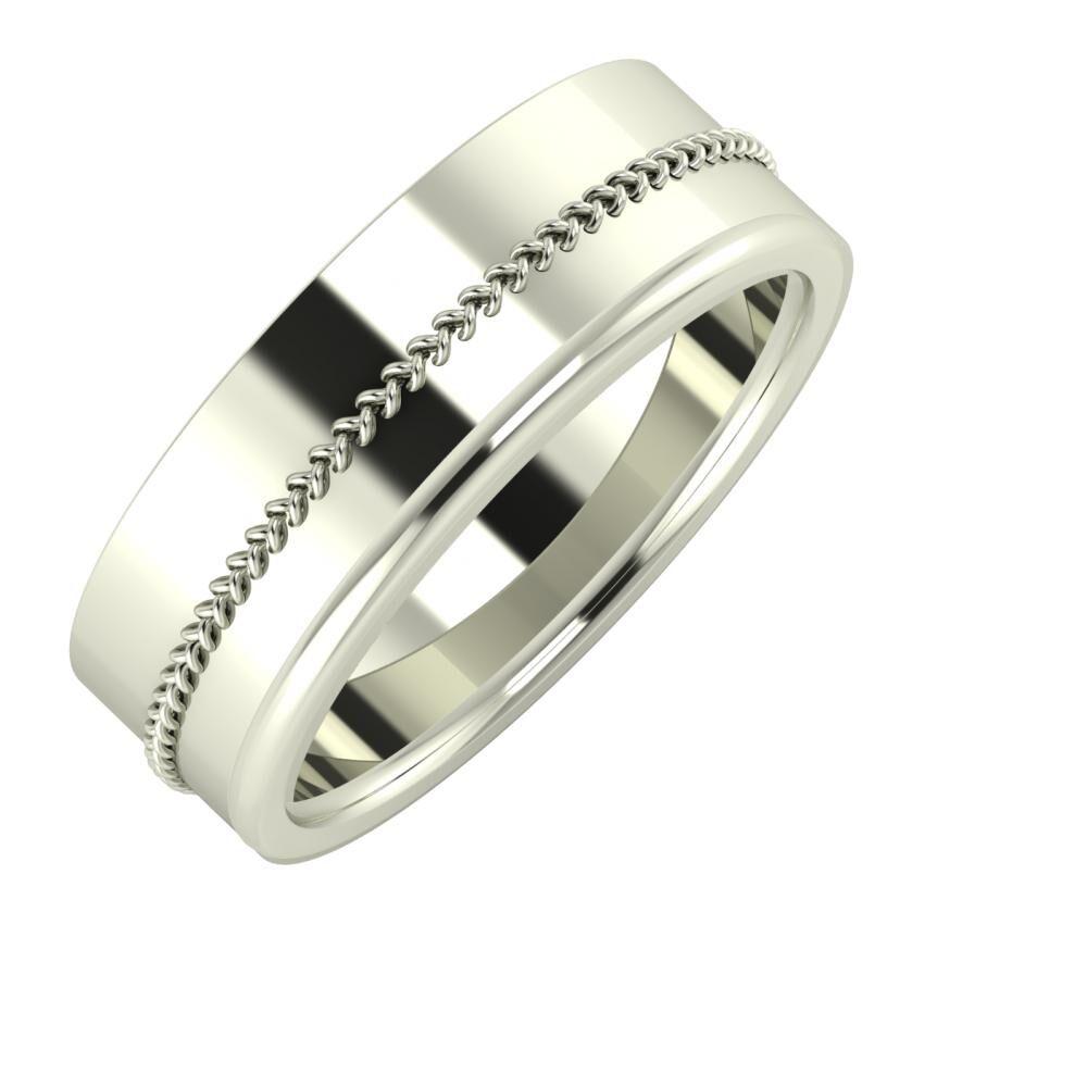 Áfonya - Alexandra 7mm 14 karátos fehér arany karikagyűrű