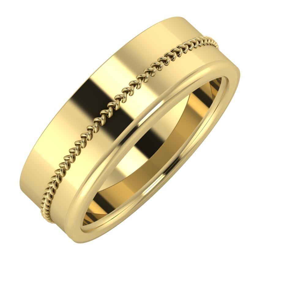 Áfonya - Alexandra 7mm 14 karátos sárga arany karikagyűrű