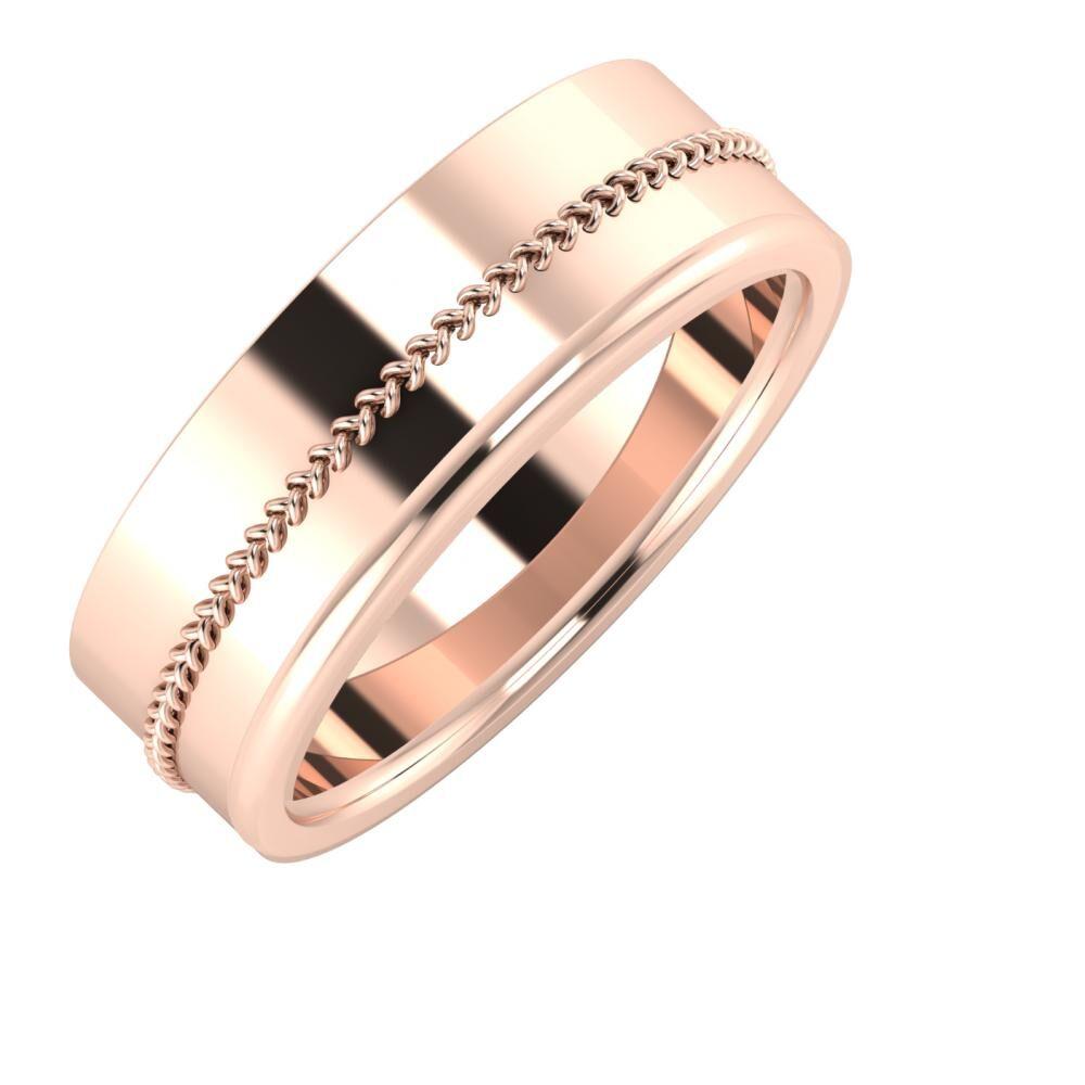 Áfonya - Alexandra 7mm 18 karátos rosé arany karikagyűrű