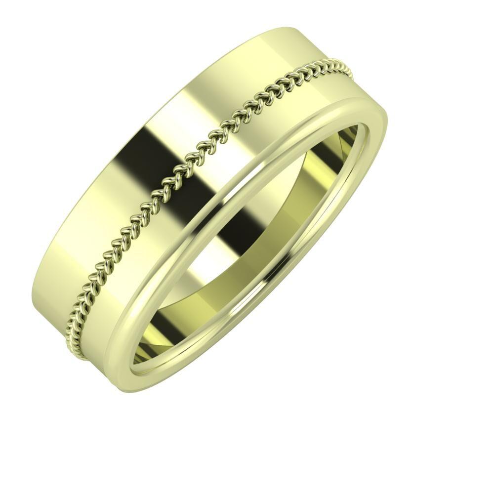 Áfonya - Alexandra 7mm 14 karátos zöld arany karikagyűrű