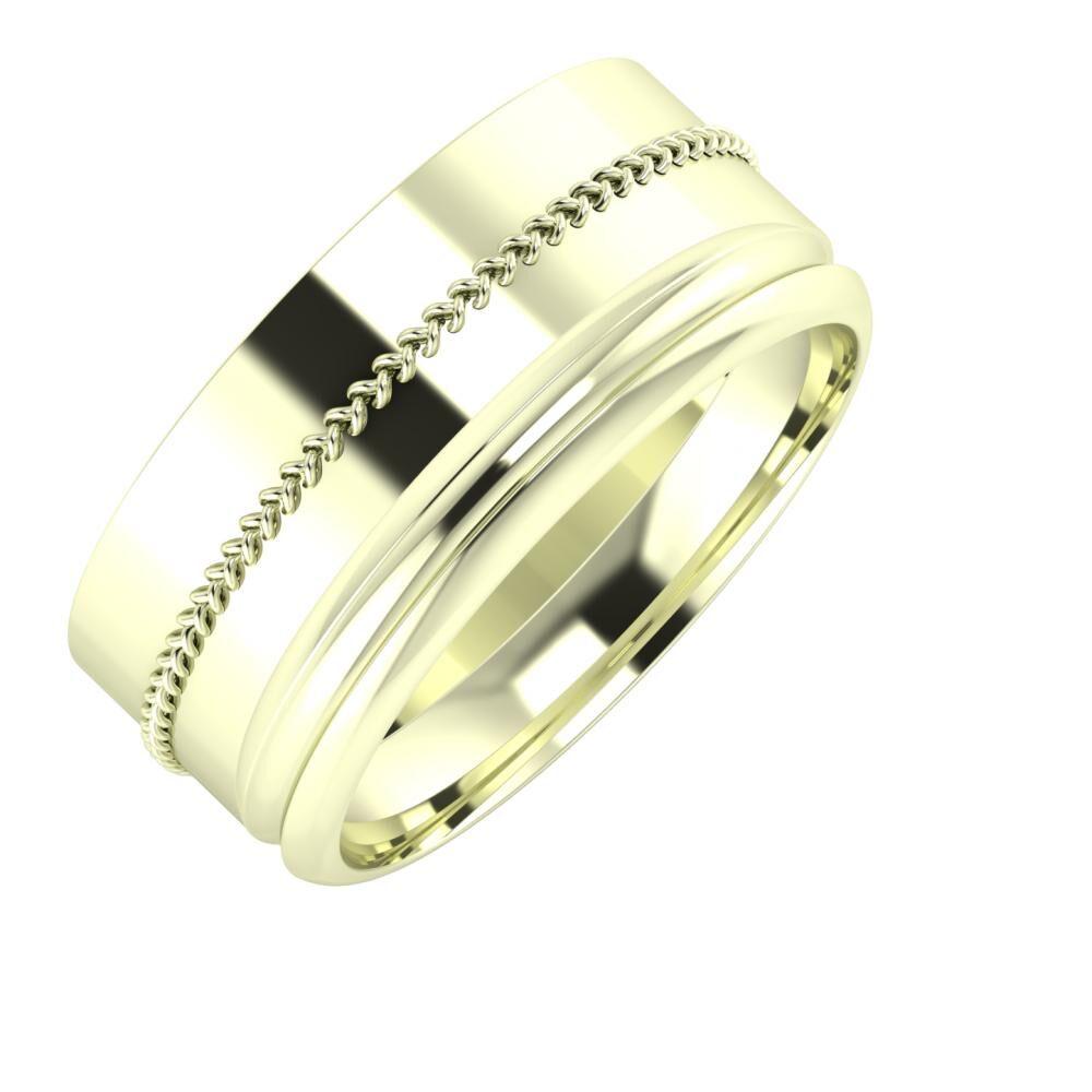 Áfonya - Alexandrin 9mm 22 karátos fehér arany karikagyűrű