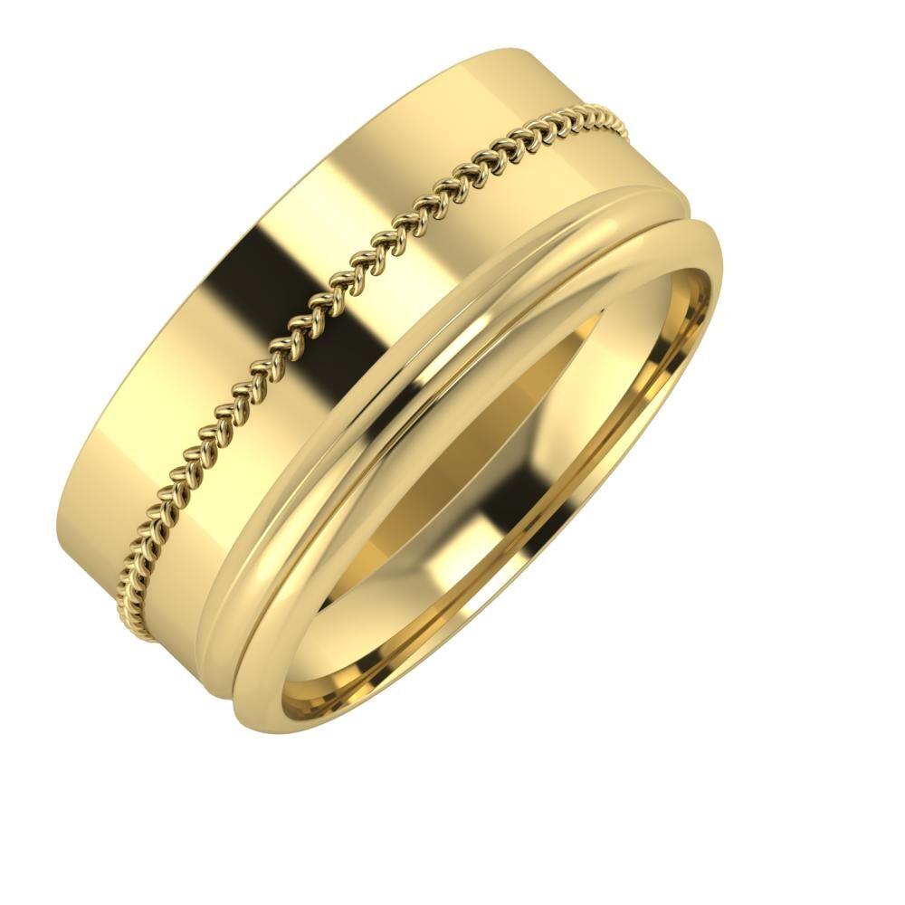 Áfonya - Alexandrin 9mm 14 karátos sárga arany karikagyűrű