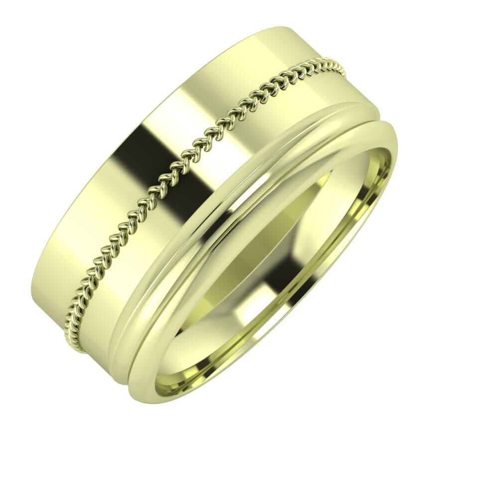 Áfonya - Alexandrin 9mm 14 karátos zöld arany karikagyűrű