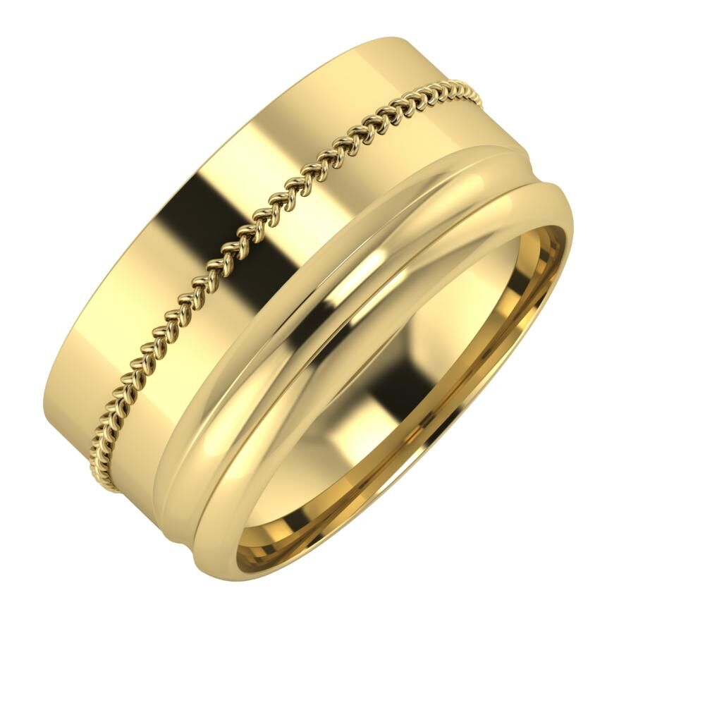 Áfonya - Alexandrin 10mm 14 karátos sárga arany karikagyűrű