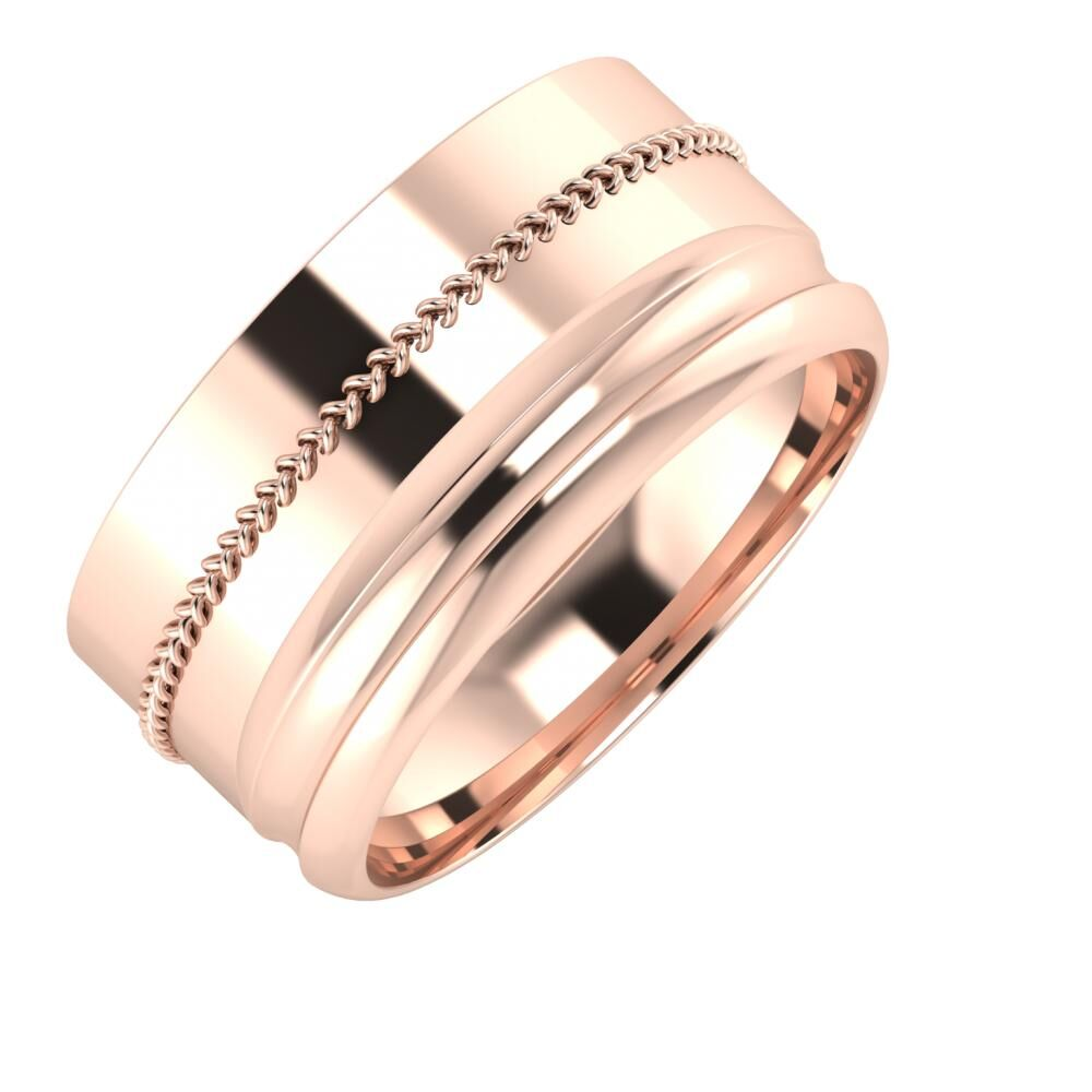 Áfonya - Alexandrin 10mm 14 karátos rosé arany karikagyűrű