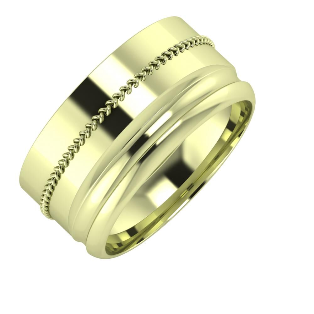 Áfonya - Alexandrin 10mm 14 karátos zöld arany karikagyűrű