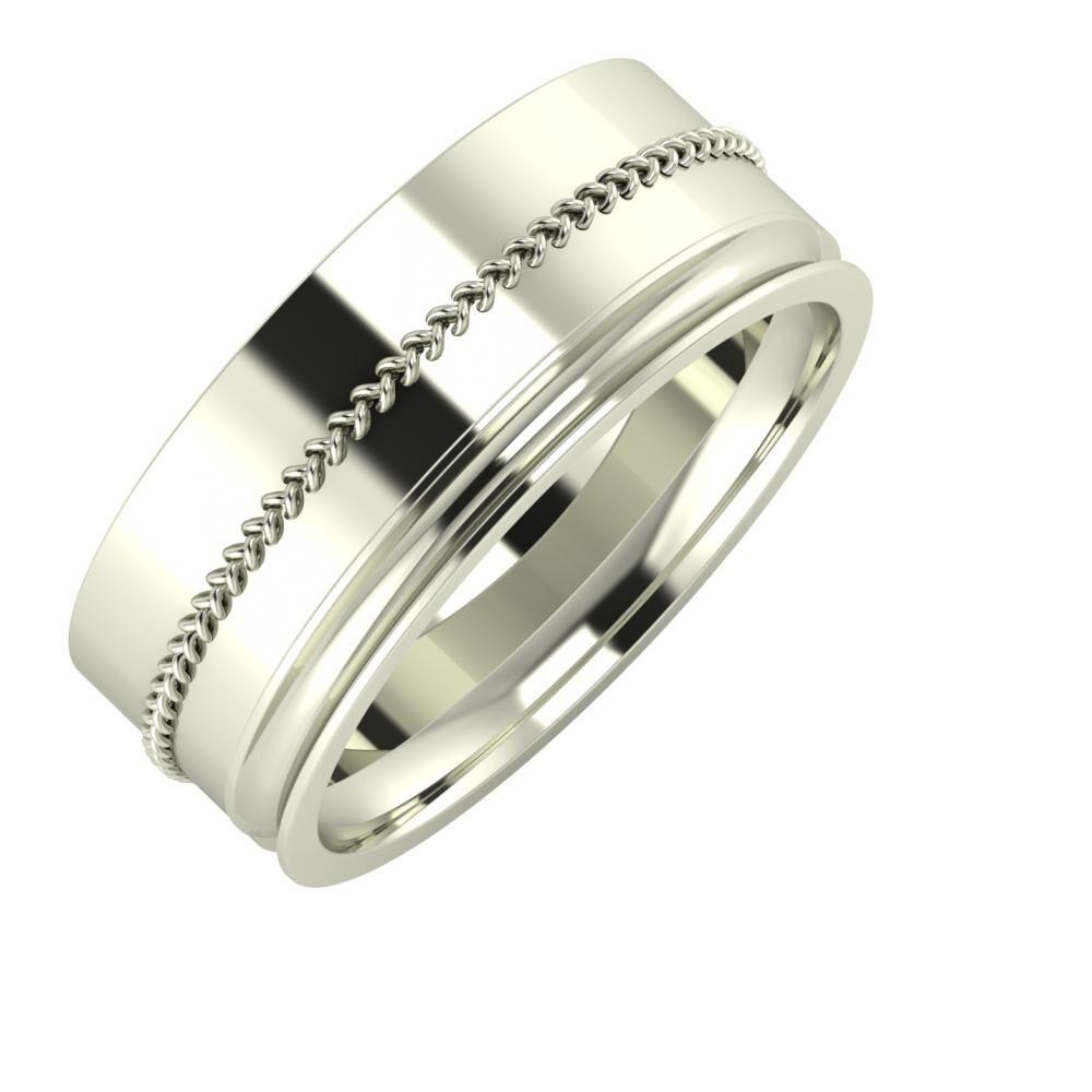 Áfonya - Alexandrina 8mm 18 karátos fehér arany karikagyűrű