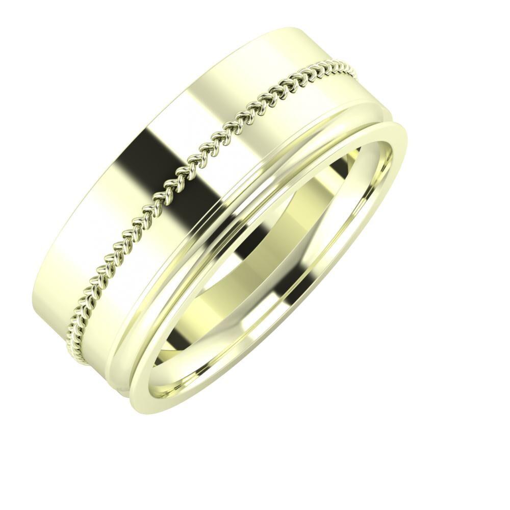 Áfonya - Alexandrina 8mm 22 karátos fehér arany karikagyűrű