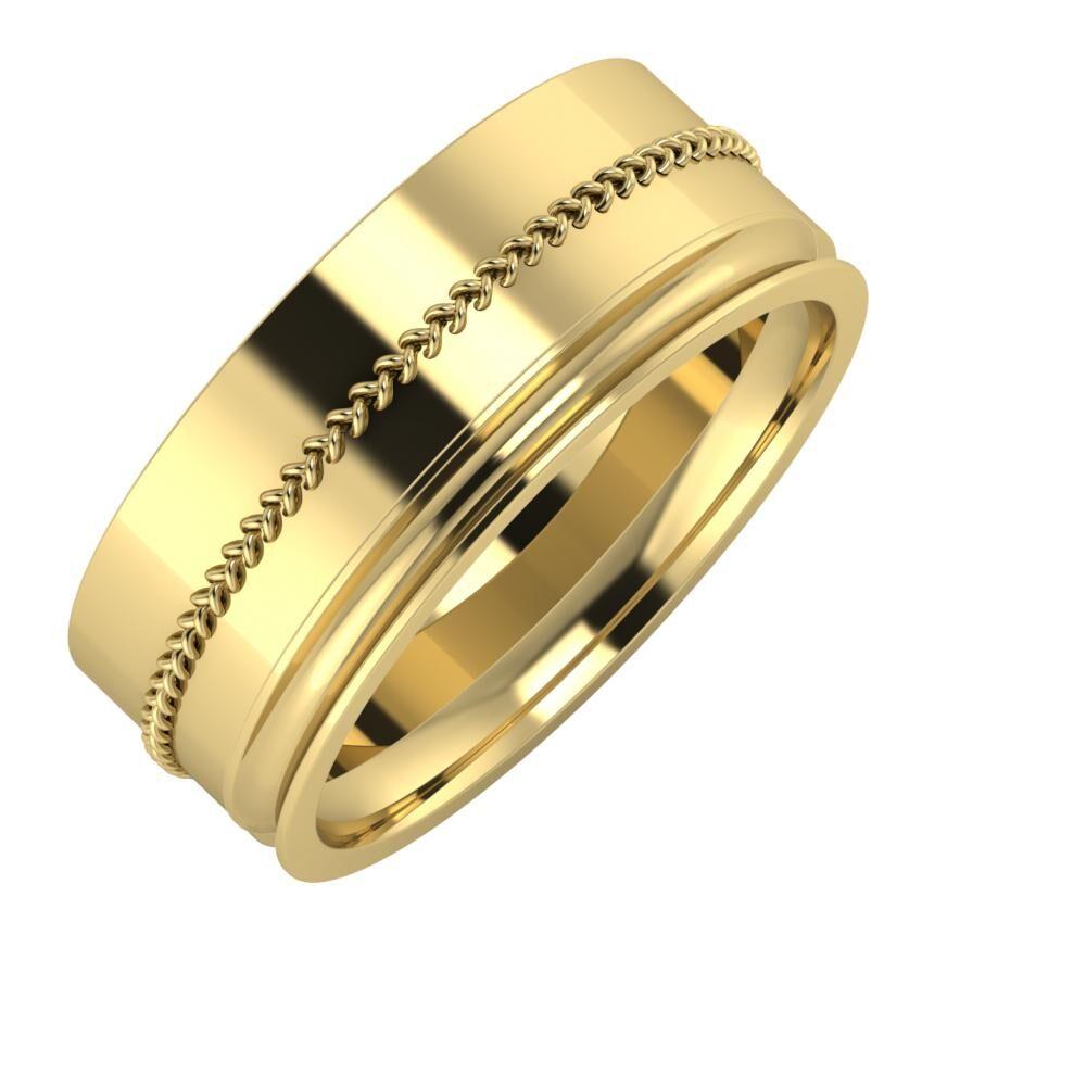 Áfonya - Alexandrina 8mm 14 karátos sárga arany karikagyűrű