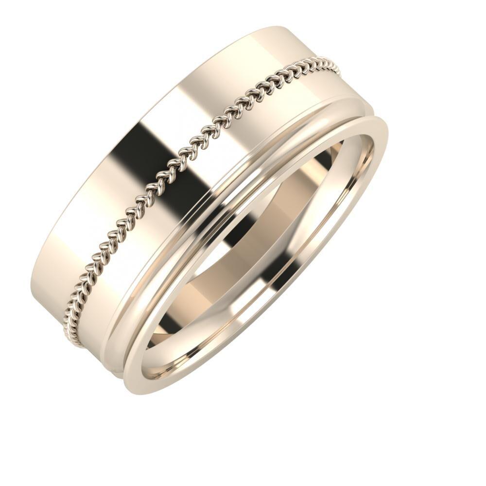 Áfonya - Alexandrina 8mm 22 karátos rosé arany karikagyűrű