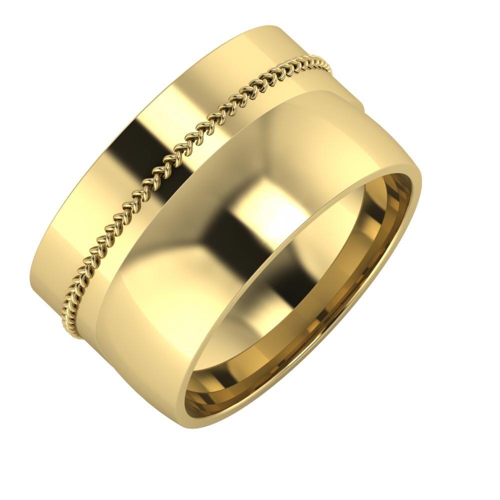 Áfonya - Alma 12mm 14 karátos sárga arany karikagyűrű